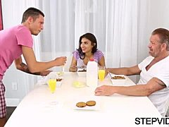 Adolescent fornicating with stepbro and stepdad