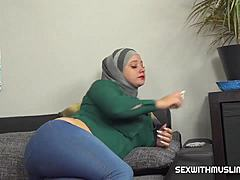 Muslim Mrs. tries a jock cigarette